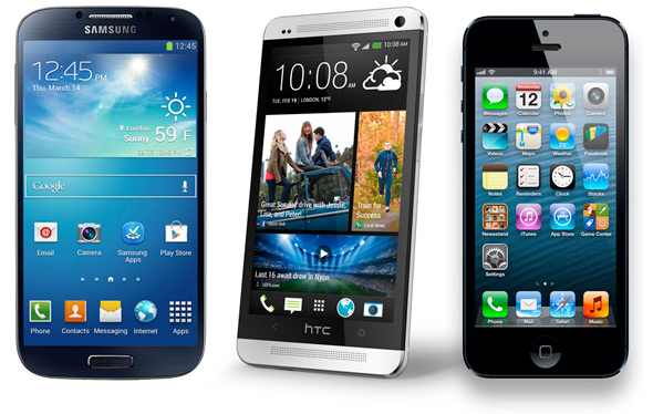 Samsung Galaxy S4 - HTC One - iPhone 5