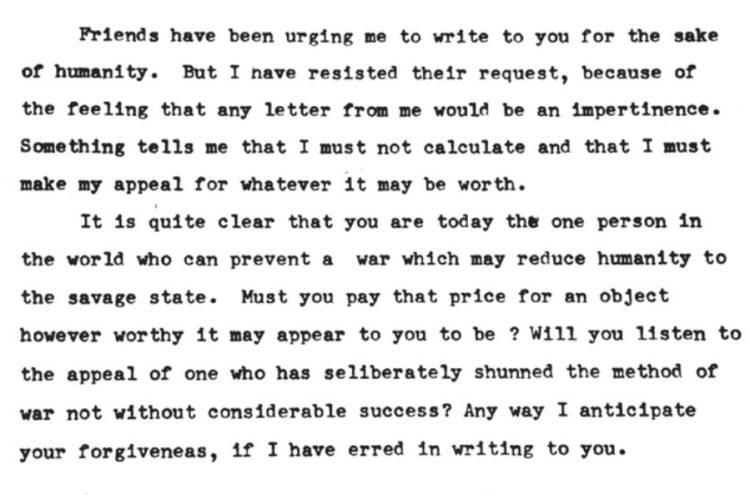 Las cartas que Gandhi escribió a Hitler