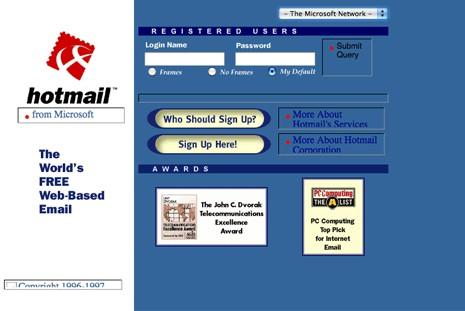 Hotmail en 1998