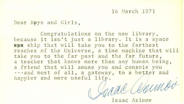 Carta de Isaac Asimov dirigida a los niños de Troy