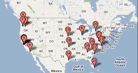 Ubicación de los data centers de Google en EEUU