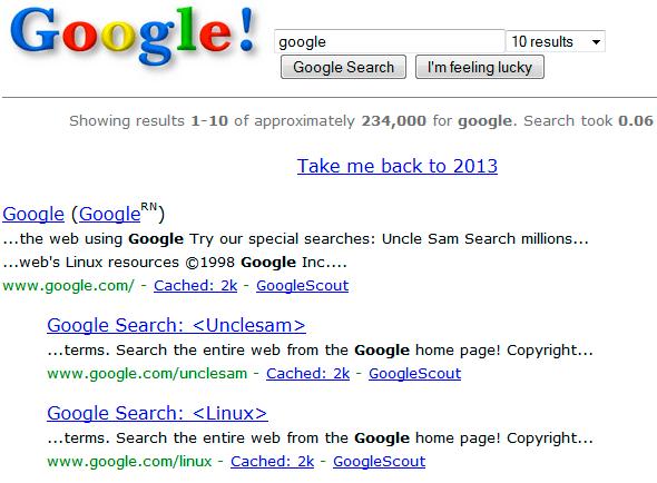 Entra en Google y teclea Google in 1998
