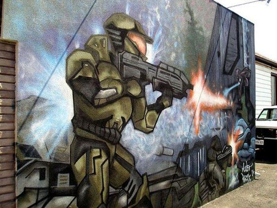 Grafitis inspirados por videojuegos