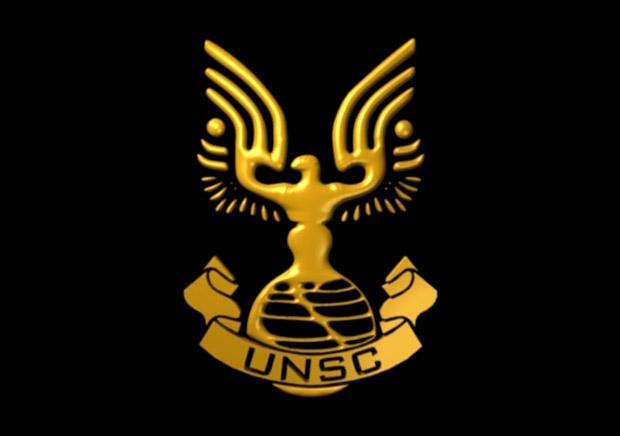 Logotipo del Comando Espacial de Naciones Unidas en el videojuego Halo