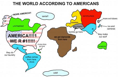 Mapa del mundo según los estadounidenses