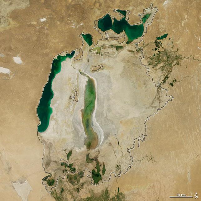 Nuevas imágenes de la NASA muestran el desastre medioambiental del Mar de Aral