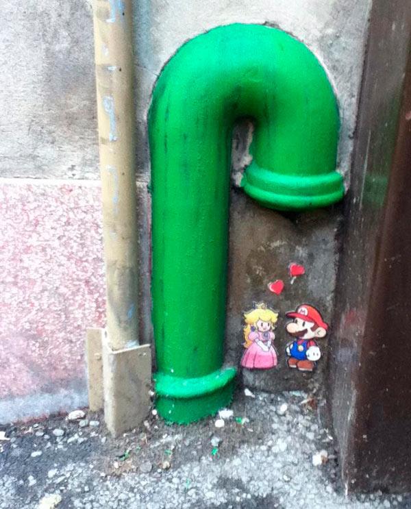 Homenaje callejero a Mario Bros