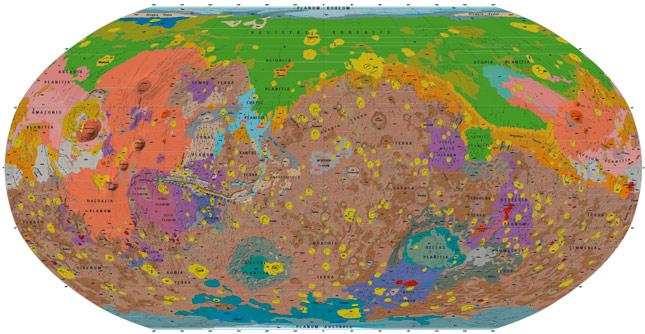 El mapa geológico más detallado de Marte