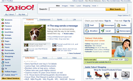 Diseño de la web de Yahoo