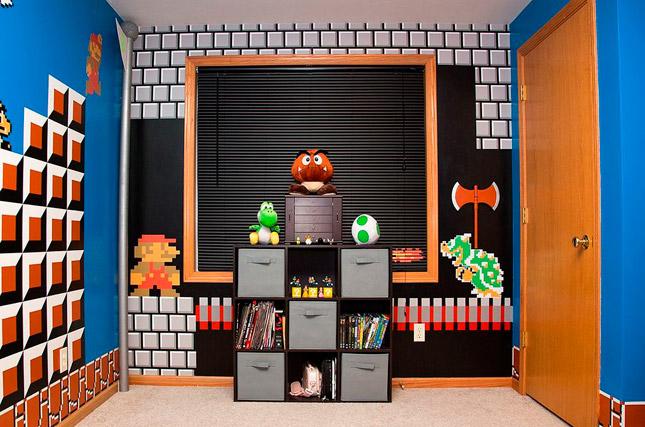 Padre redecora la habitación de su hija con los personajes de Super Mario Bros