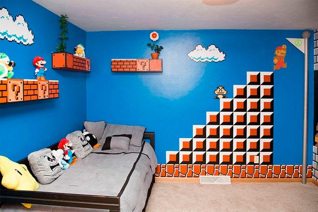 padre redecora la habitaci n de su hija con los personajes de super mario bros abad a digital. Black Bedroom Furniture Sets. Home Design Ideas