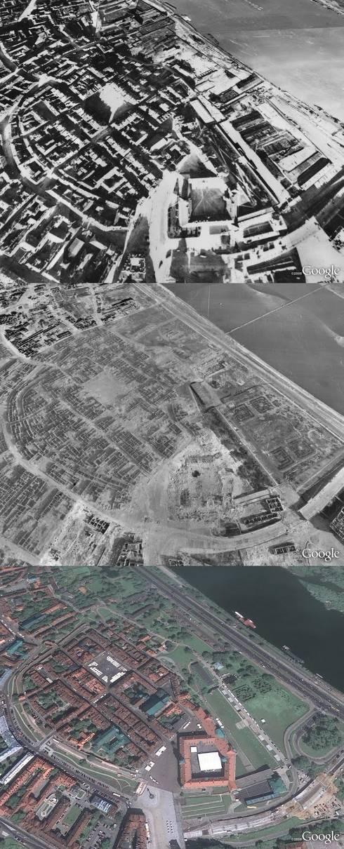 Vista aérea de Varsovia antes del comienzo de la Segunda Guerra Mundial, durante y en la actualidad
