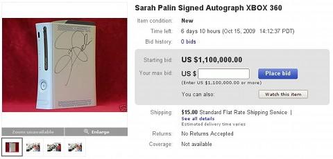 Piden 1.100.000 dólares por una Xbox 360 firmada por Sarah Palin