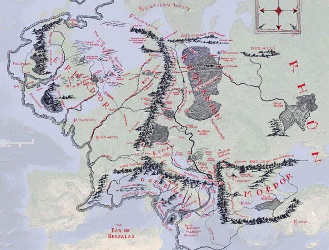 El tamaño de la Tierra Media comparado con el de Europa