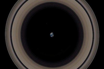 Tamaño de la Tierra en comparación con los anillos de Saturno