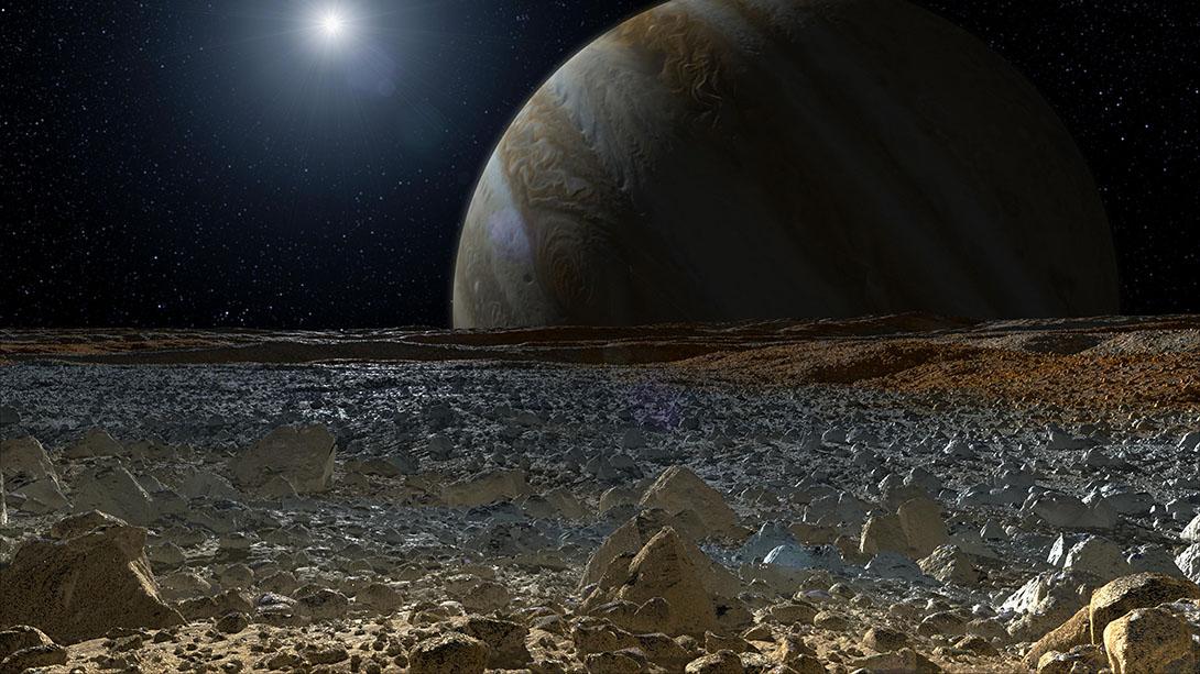 Así se ve Júpiter desde la superficie de su satélite Europa